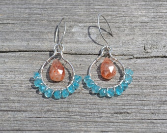 Sunstone and blue topaz wire wrapped hoop earrings, sunstone jewelry