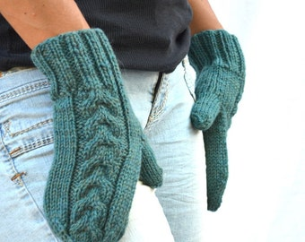 Green wool mittens cable knit handmade gift womens gift Christmas teal green