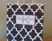 Trellis Pattern Gift Bag with Monogram