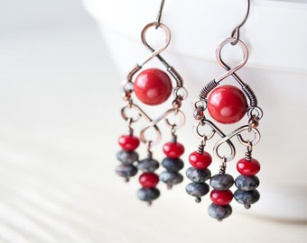 Red Chandelier Earrings, Wire wrapped Swarovski glass pearl, red coral and gray jasper, bold and bright bohemian jewelry, artisan handmade