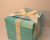 Blue Wedding Card Box Gift Card Box Money Box  Holder--Customize in your color/made to order (10x10x9)