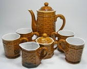 Hot Chocolate Set or Coffee Dark Amber Bamboo Design Porcelain Set 9 pieces