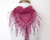 Pink Scarf Women Scarf -Lace Edge-Ready for shipping