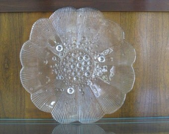Vintage German Cake Plate, Clear Glass Glasax, TOP LINE Made in Germany Scalloped Rim Edge Bubble Feet Sandwich Tray
