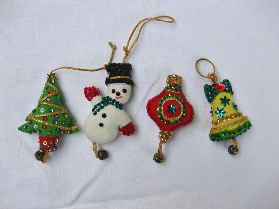 Sale vintage sequins felt christmas ornaments handmade for Christmas ornaments sale