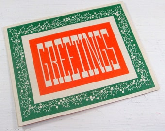 Vintage Holiday Greetings Card, Christmas Card in Red, Green, White  (438-14)