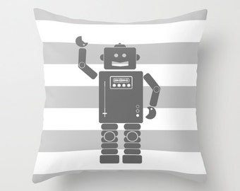 Robot 2 Gray with Gray and White Stripes Throw Pillow Cover Case 16X16 or 18x18 Or 20x20 Hidden Zipper