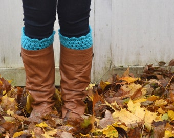 Crochet Boot Cuffs -Custom Colors - Boot Socks - Boot Toppers - Women's Boot Cuffs - Scalloped Boot Cuff - Crocheted Boot Cuffs - Aqua