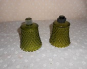 Green Votive Candle Cups Diamond Cut Glass Olive Green