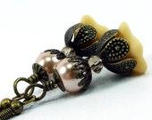End of Summer SALE Vintage Style -Handmade Beige Trumpet Flower Earrings & Peach Glass Pearls