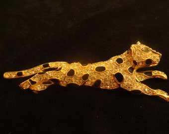 Vintage Trifari Leopard Panther Lion rhinestoes and enamel RARE