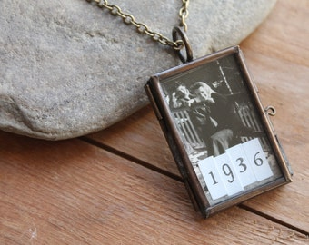 Heidelberg Necklace with Vintage Ephemeral Photo Collage Locket - The Maggie Series - Why Make Your Own Memories When You Can Have Theirs?