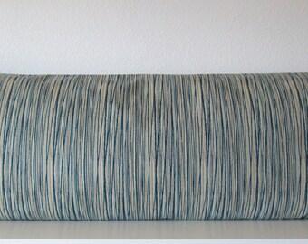 Pillow Cover - Blue - khaki - Stripes - 20x54 - Decorative - Body pillow cover - Body Pillow Case