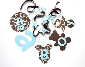 Giraffe baby shower decorations blue and brown it's a boy banner by ParkersPrints on Etsy