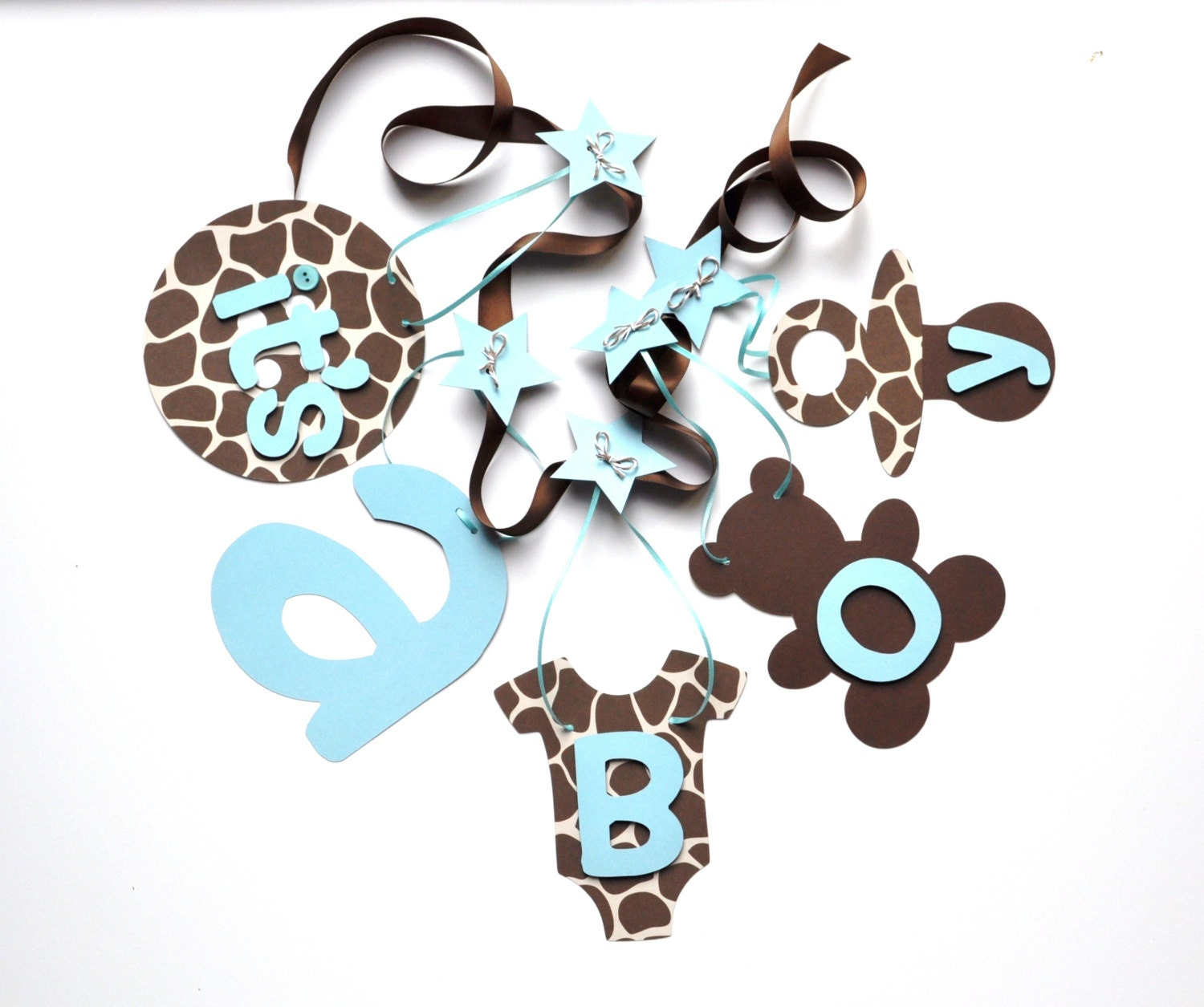 giraffe baby shower decorations blue and brown it 39 s a boy