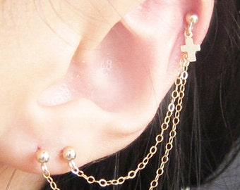 Gold Filled Small Cross Triple Piercing
