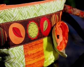 MarveLes ZIPPER AUTUMN Quilted Pouch Bag Purse Clutch in Wristlet with Tapestry Ribbon Fall Orange Brown Red Green