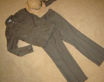Costume Halloween Safari jungle  olive jacket pants suit pith helmet  sz M womens