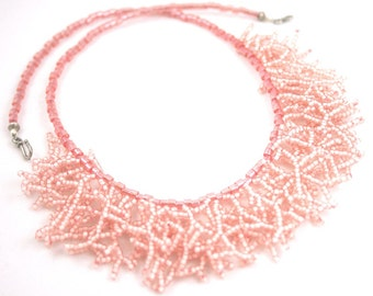 Coral Fringe Necklace . Beadweaving Necklace . Pink Coral Salmon Peach Jewelry . Bib Statement Necklace . Wedding Jewelry