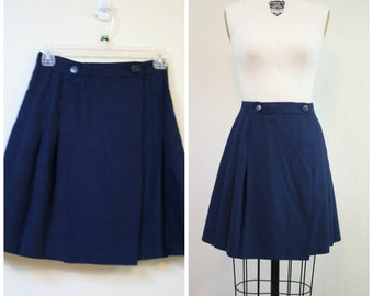 Vintage 1980s Blue pleated short skirt size S made in USA