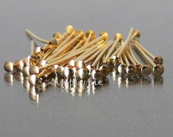 1-Inch Gold Brass Straight Headpins 21-Gauge 50