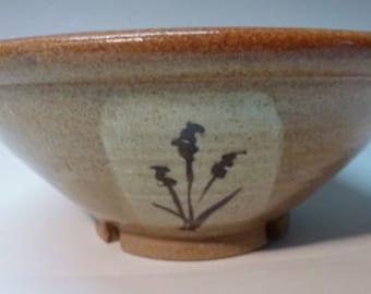 Nutmeg  handmade Stoneware Ceramic Bowl with Cattails hand made by Ruth Sachs