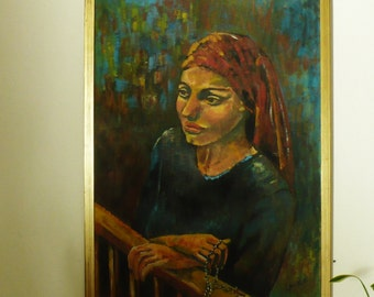 "Original Oil Painting Mid Century Portrait Woman Praying with ""ROSARY"" Signed Large"
