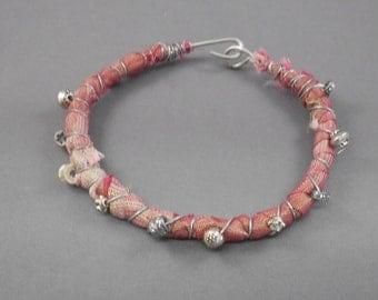 Red Sari Silk Wrapped Bracelet