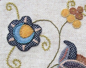 Jacobean Flower Wool Applique, Hand Embroidery / Pattern / Jac 015