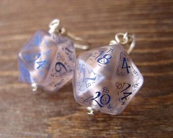 dice elf dice earrings elvish d20 dice rgp larp see through blue inscriptions elvish runes transparent tolkien fantasy