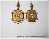 Original fancy lady brass filigree swarovski crystal re-purposed shotgun shells earrings