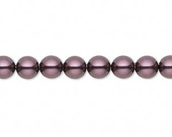 Clearance 6mm Swarovski  PEARL style 5810 crystal beads BURGUNDY -- 25 pieces