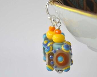 Colorful Square Earrings, Artisan Lampwork Glass Earrings, Cube Earrings, Abstract Dangle Earrings