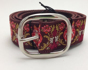 Cool Pink Owls Jacquard Ribbon Belt with Pin Buckle
