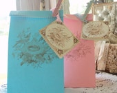 Nests and Treats. Six Birds Nest Favor Bags with Cards and Clothespins