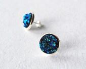 Druzy Stud Earrings - Glitter Earrings - Sparkly Stud Earrings - Faux Druzy Earrings Unique Handmade Gift