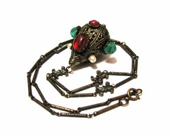 Antique Edwardian Brass Chatelaine Filigree Dome Teardrop with Pearl Red Green Glass Crystal and Etched Bar Chain Lavalier Necklace