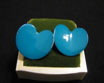 Vintage Teal Aque Blue Metal Heart Pierced Earrings