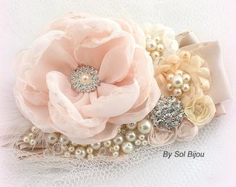 Sash, Blush, Ivory, Peach, Tan, Beige, Champagne, Elegant Wedding, Vintage Style, Bridal, Feathers, Crystal Brooch, Pearls, Crystals