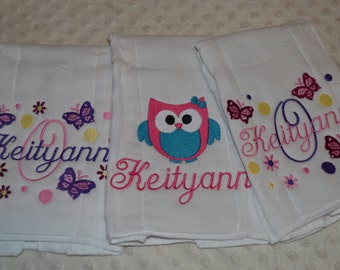 3 Personalized embroidered  Baby Burp cloths  lots of designs  Space, Whale, owls, Nautical, safari, sports, flowers, & many more