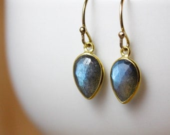 Mini Blue Labradorite Inverse Teardrop Earrings - 14K GF - Dangle Earrings