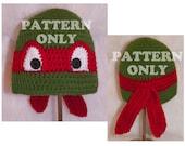 Crochet Pattern - Teenage Mutant Ninja Turtle Inspired Hat -Toddler Size, 5 - 10 Yr, Teen thru Adult Size