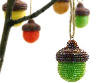 Acorn Ornament Green Beaded Woodland Christmas Fall Thanksgiving Holiday Decoration Hostess Gift *READY TO SHIP