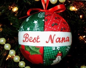 Best Nana Christmas Ornament Fabric Quilted Look Ornament Christmas Tree Decoration Ready To Ship by CraftCrazy4U on Etsy