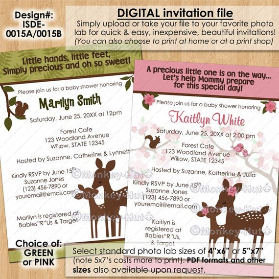 willow deer baby shower invitations boy girl neutral green pink