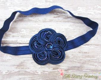 Navy Blue Flower Headband, Posh Mini Navy Beaded Satin Flower Headband or Hair Clip, Baby Headband, Newborn Infant Child Girls Headband