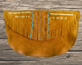 Terracotta Embroidered Fringed Suede Clutch/Belt Pouch, Recycled Suede