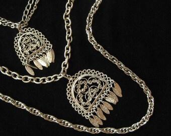 Chains, Pendants, Tassels, Lots of Look Double Pendant Necklace