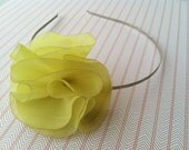 Chartreuse Floral Headband with Pearl Accent - Lightweight and Comfortable