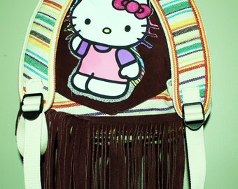 Hand Crafted By Maggie Hello Kitty Fabric Backpack Book Bag.